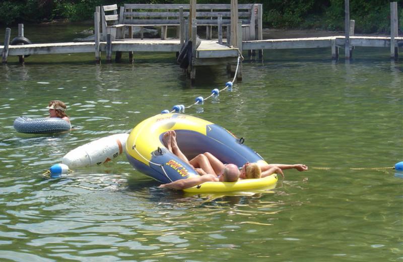 Floating on the lake at Golden Sands Resort.