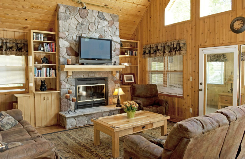 Cabin living room at East Silent Lake Resort.