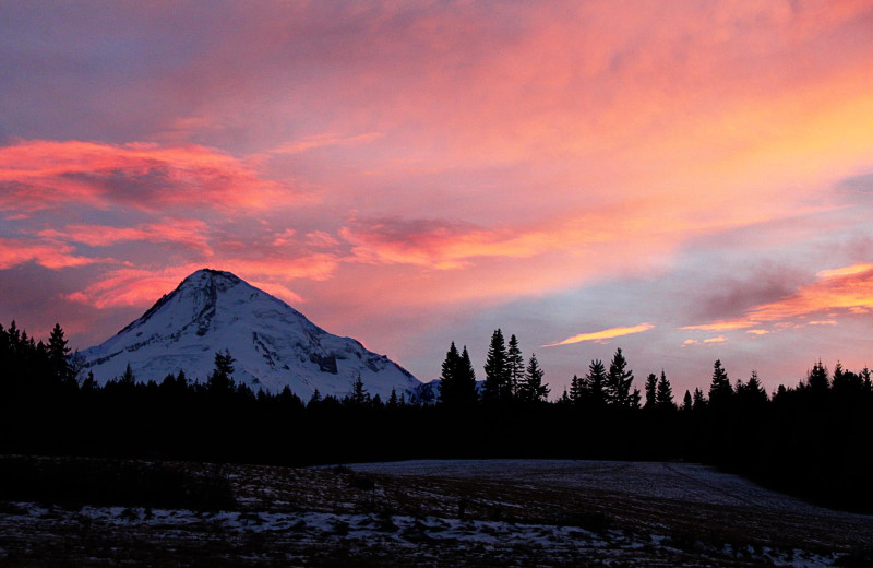 Sunset at Mt Hood Bed & Breakfast.