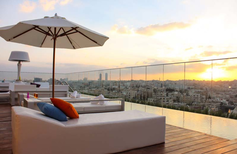 Roof top lounge at Regency Palace Amman.