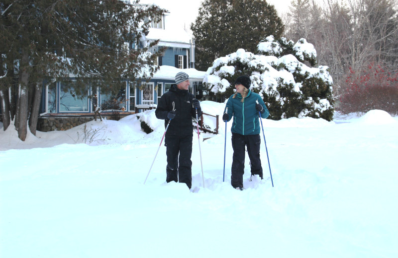 Explore the woods around the Darby Field Inn on snowshoe!  We rent them here, or bring your own.