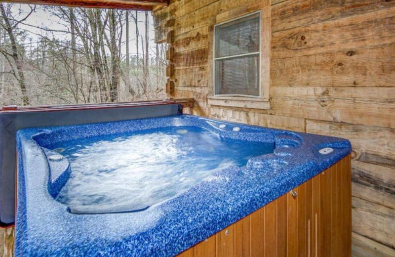 Cabin hot tub at TNT Cabin Rentals.