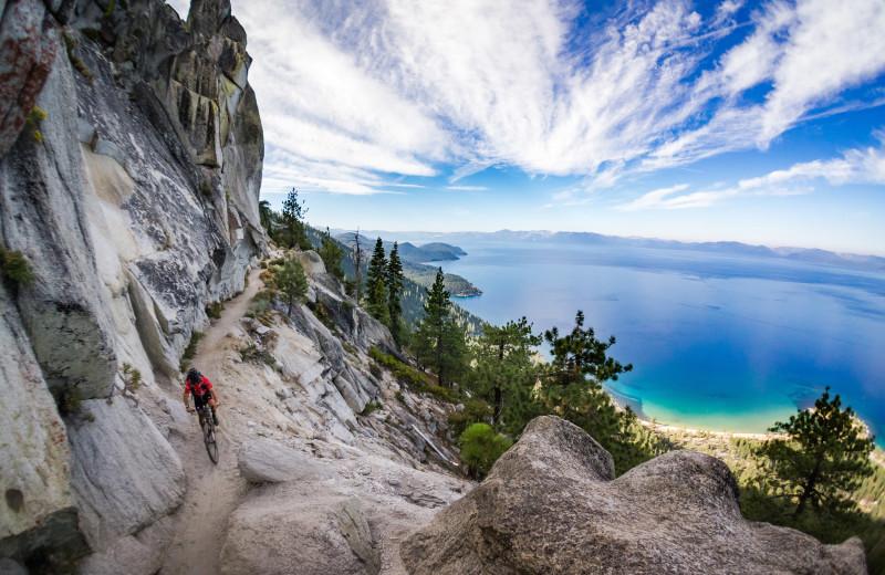 Mountain biking at Meeks Bay Resort.