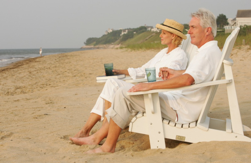 Couple on beach at New Seabury Resort.