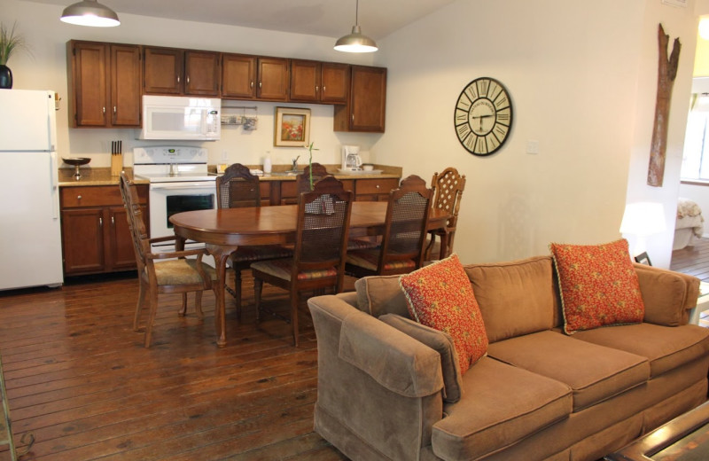 Cottage living room and kitchen at Cypress Creek Cottages.