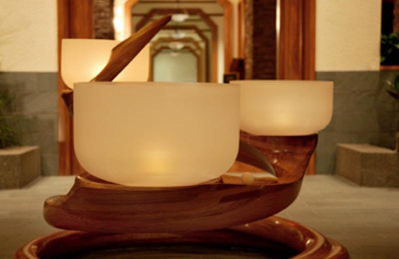 Chakra Bowls at entrance of The Lodge at Woodloch.