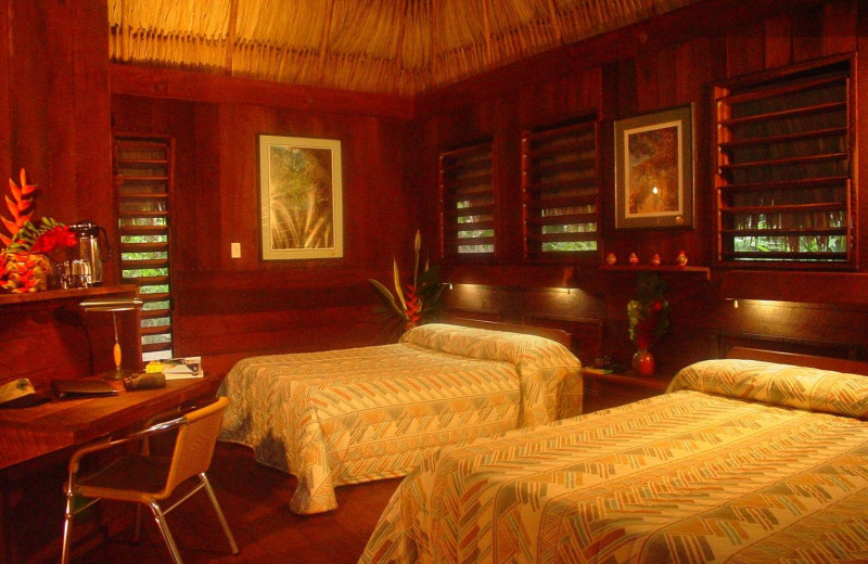 Guest room at Lamanai Outpost Lodge.