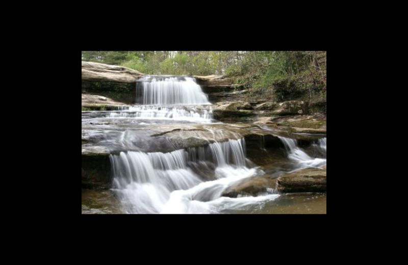Waterfall at Hummingbird Hill Cabin Rentals.