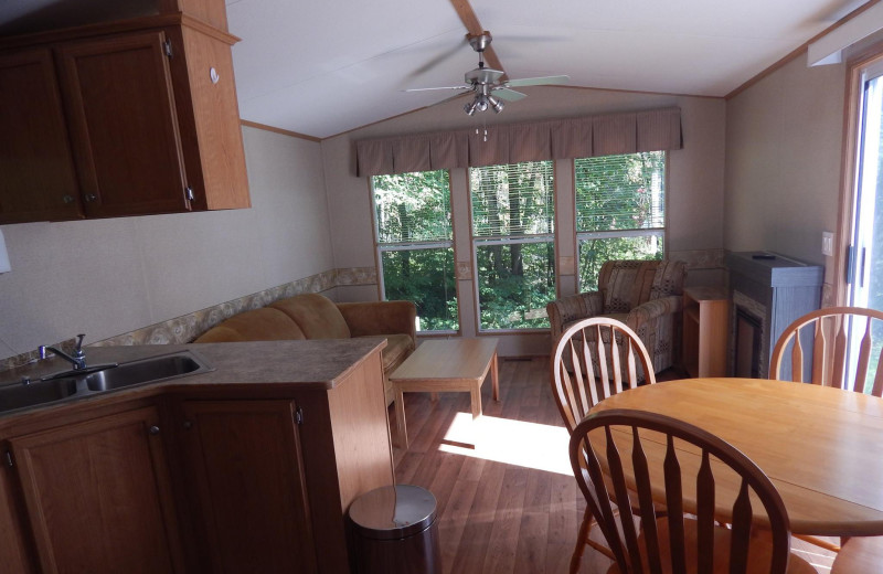 Cabin interior at Bonnie Lake Resort.