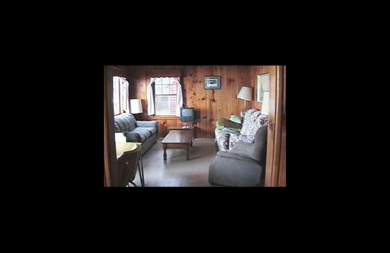 Cabin living room at Lazy Acre Resort.