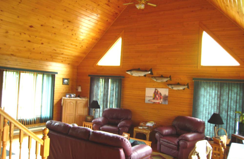 Cabin living room at Country Haven Lodge.