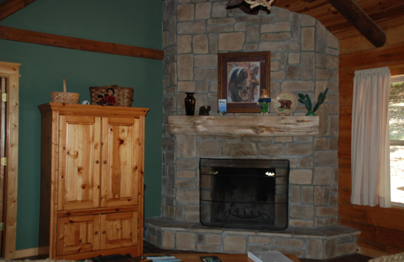 Cabin fireplace at Whispering Hills Cabins