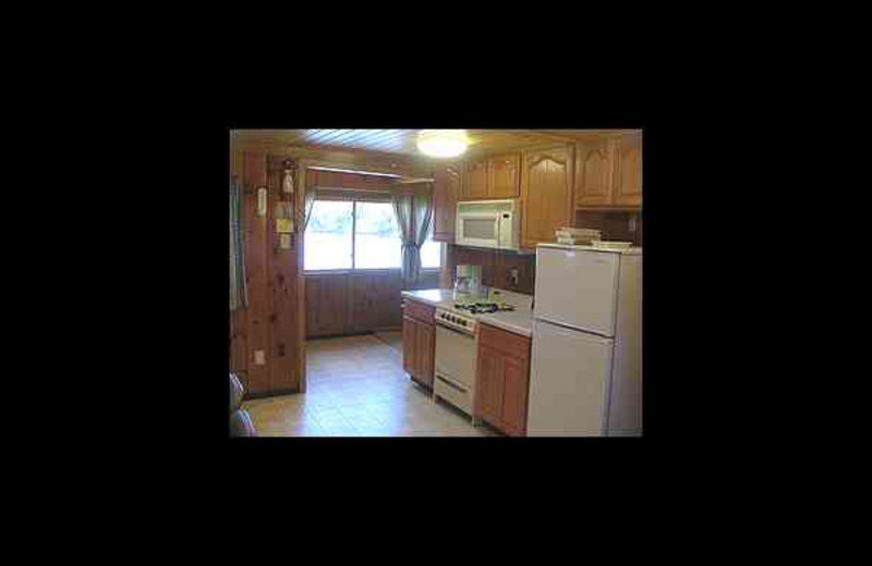 Cabin kitchen at Voyageur Cove Resort.