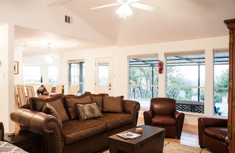 Ranch house living room at Hill Country Casitas.