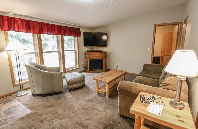 Cabin living room at Sand Lake Resort.