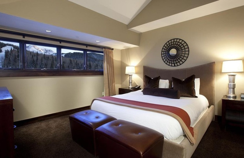 Guest room at Lumiere Hotel in Telluride, Colorado. A luxury boutique hotel.