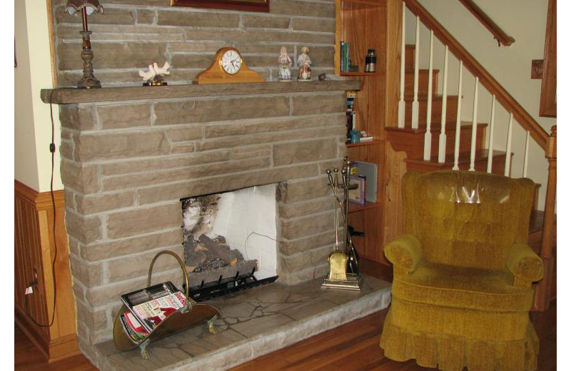 Fireplace at The River House.