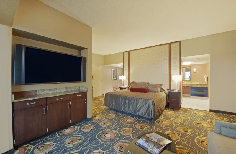 Guest room at Mystic Lake Casino Hotel.