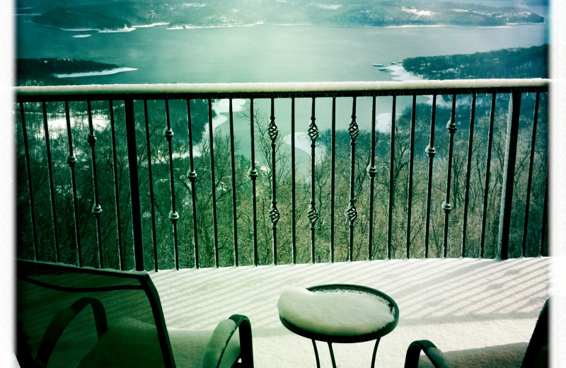 Balcony view at Whitney Mountain Lodge.