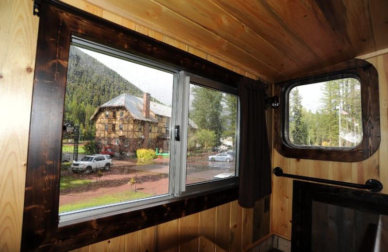 View from caboose car at Izaak Walton Inn.