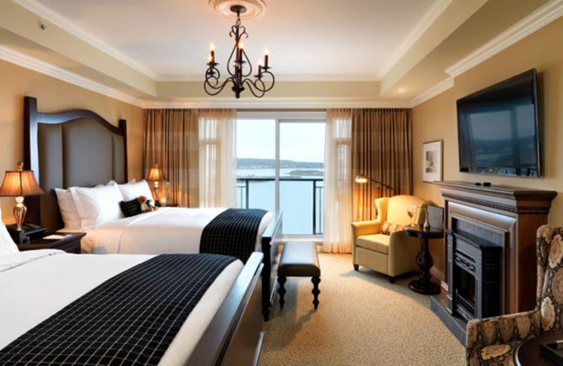 Guest bedroom at Oak Bay Beach Hotel.