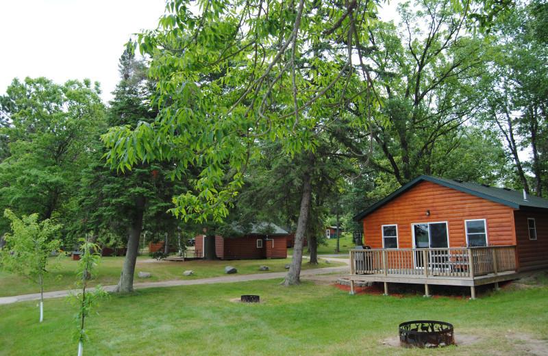 Cabin exterior at Sandy Pines Resort.