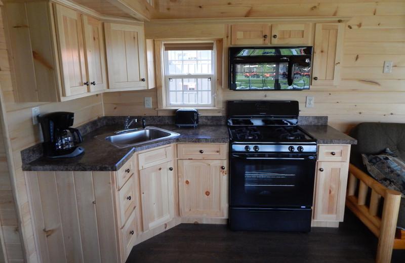 Cabin kitchen at Yogi Bear's Jellystone Park™ Camp-Resort in Gardiner, NY.
