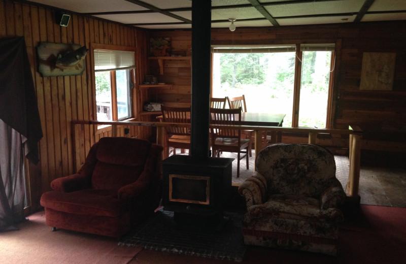 Cabin interior at Dogtooth Lake Resort.