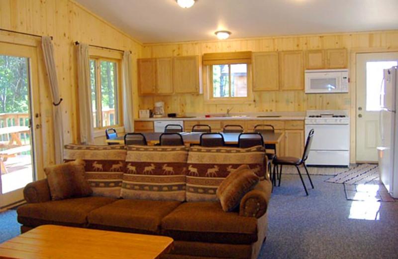 Cabin interior at Towering Pines Resort.