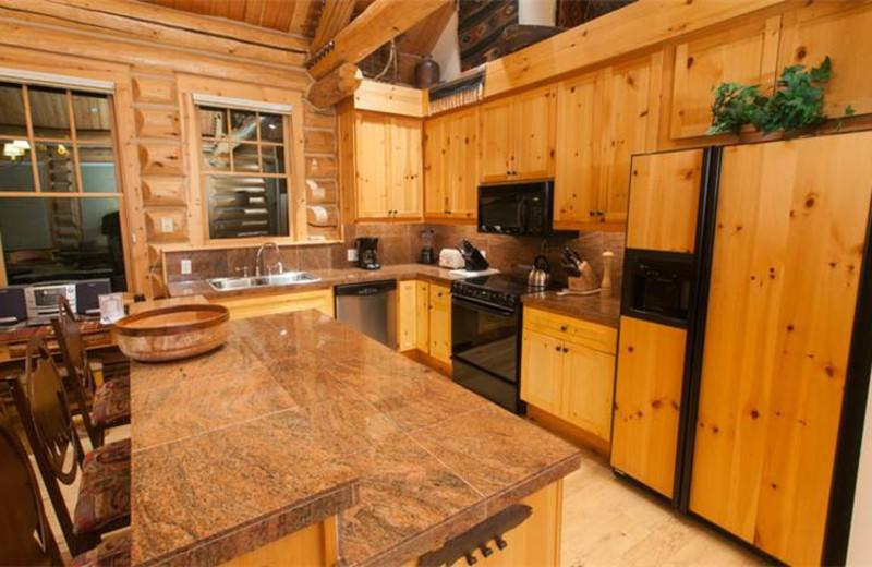 Rental kitchen at Rendezvous Mountain Rentals & Management.