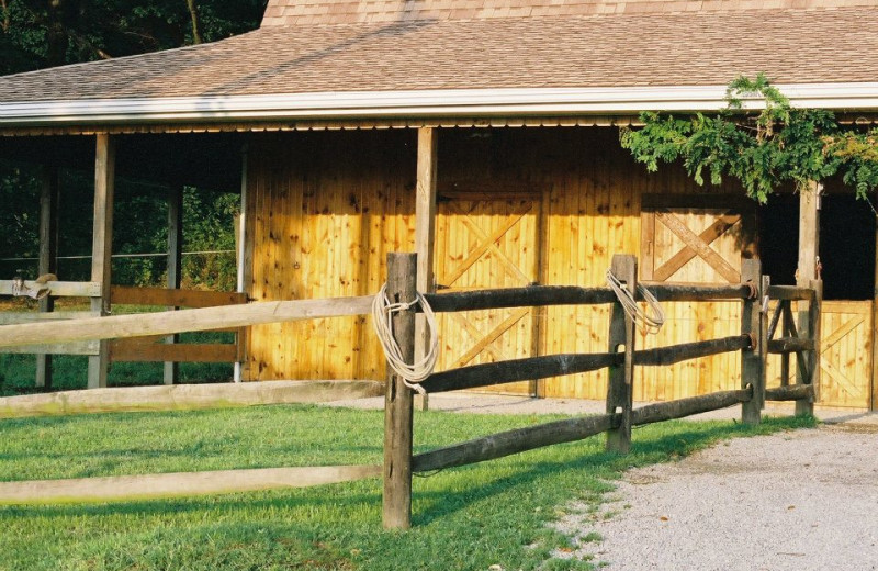 Exterior view of Guggisberg Swiss Inn/Amish Country Riding Stables.