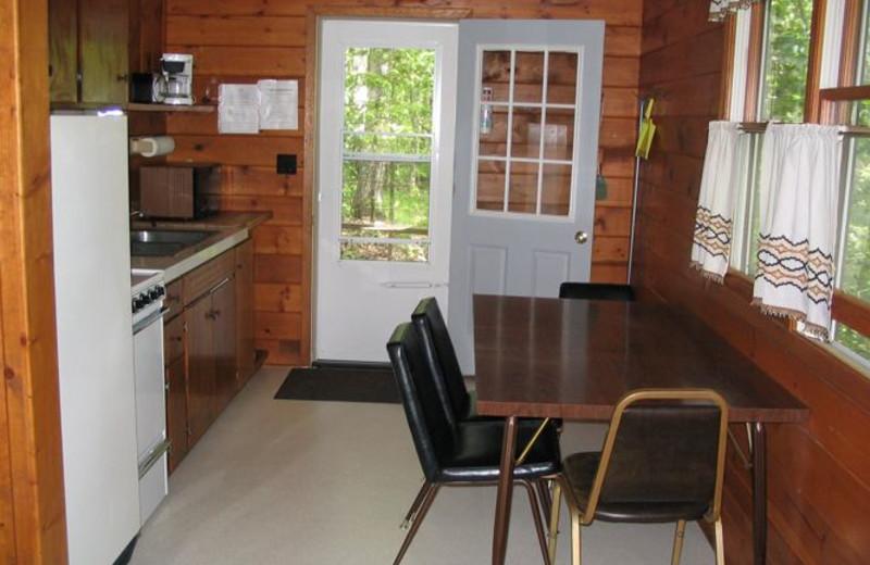 Cabin kitchen at Red Cedar Springs Resort.