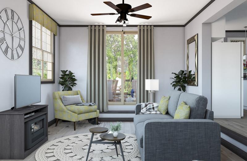 Cottage living room at Great Blue Resorts- Shamrock Bay Resort.