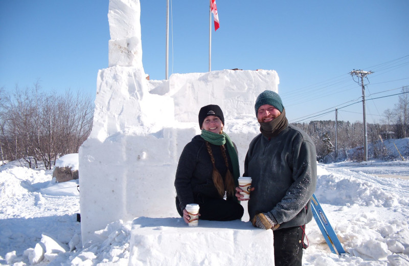 Snow sculpture at Grand Ely Lodge.