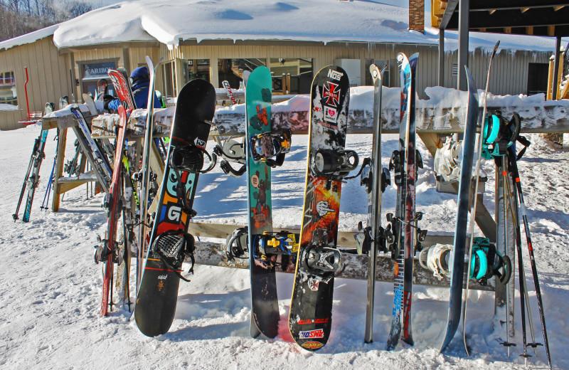 Snowboarding at Big Powderhorn Lodging Association.