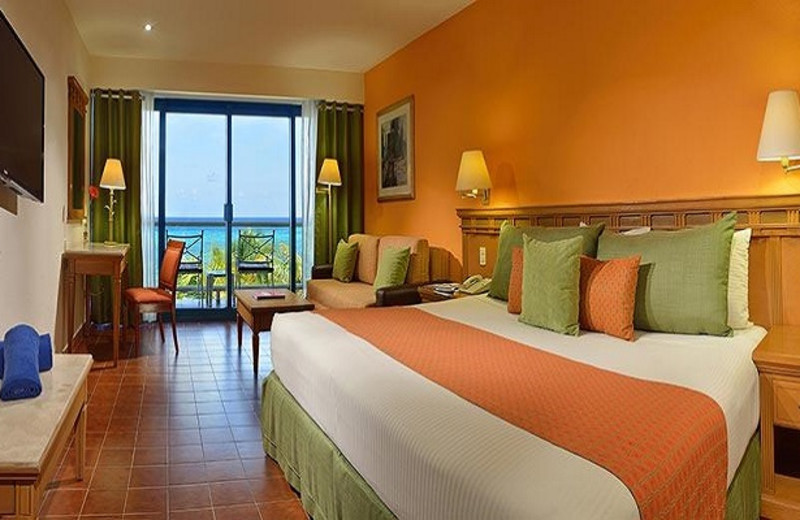 Guest room at Melia Cozumel All Inclusive Golf & Beach Resort.
