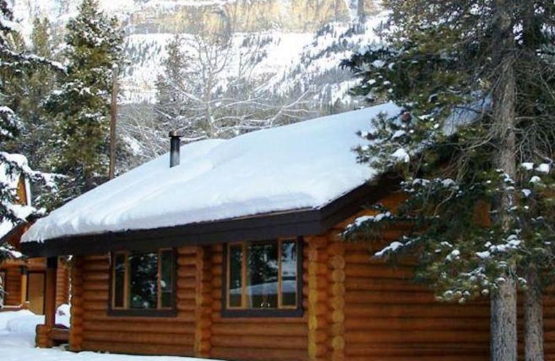 Cabin exterior at Castle Mountain Village.