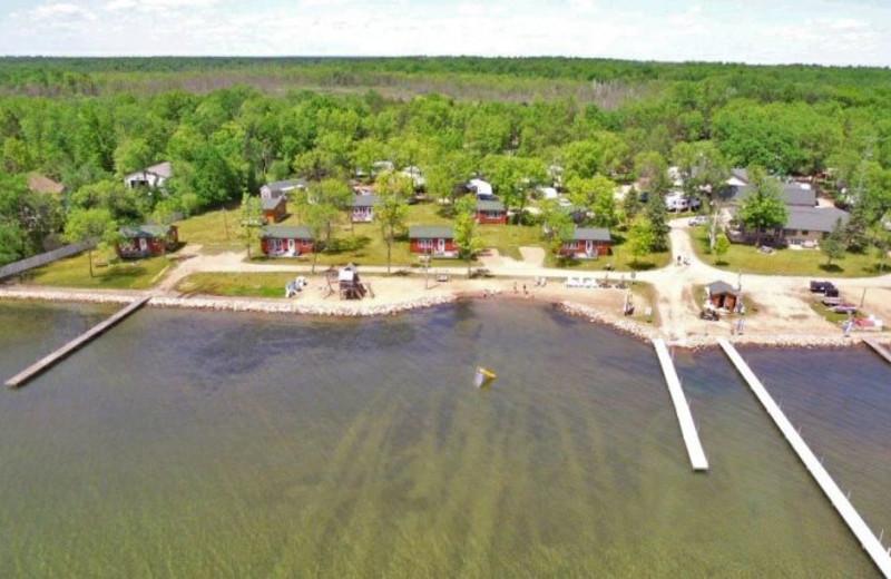 Aerial view of Sullivans Resort & Campground.