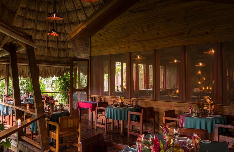 Dining at Blancaneaux Lodge.