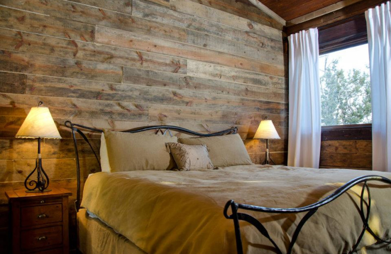 Cabin bedroom at Zion Mountain Ranch.