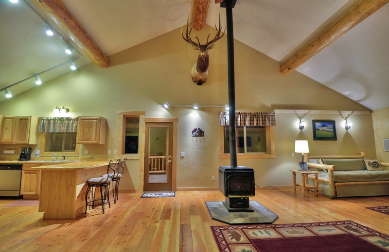 This is the living room in the Ridgetop Retreat, our largest luxury cabin located only 1/2 mile from Glacier National Park