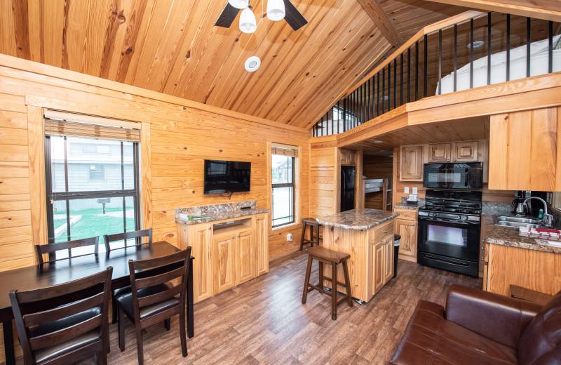 Cabin interior at Yogi Bear's Jellystone Park™ Guadalupe River.