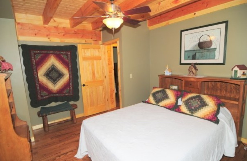 Cabin bedroom at Getaway Cabins.