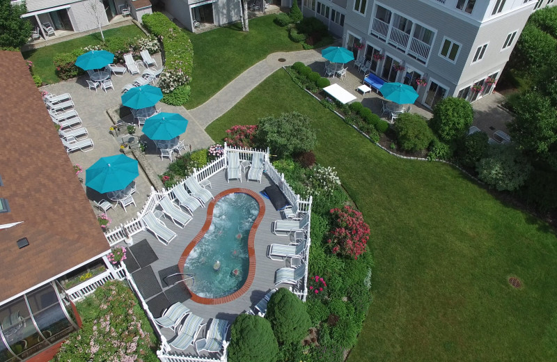Aerial view of pool at The Meadowmere Resort.