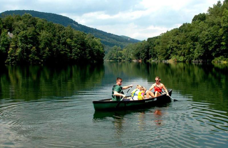 Canoeing at Rumbling Bald Resort.