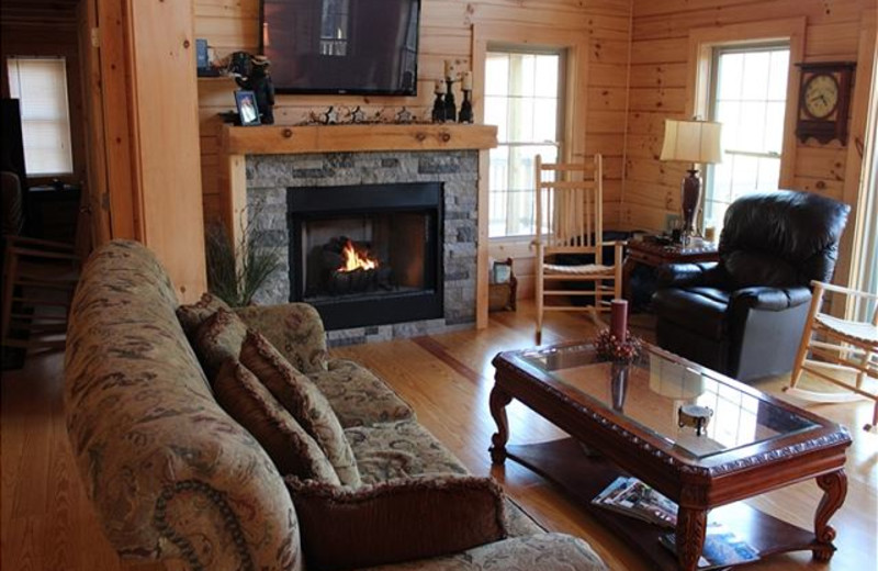 Rental living room at Mountain Lake Rentals.