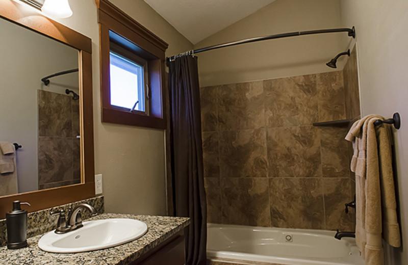 Rental bathroom at Branson Vacation Houses.