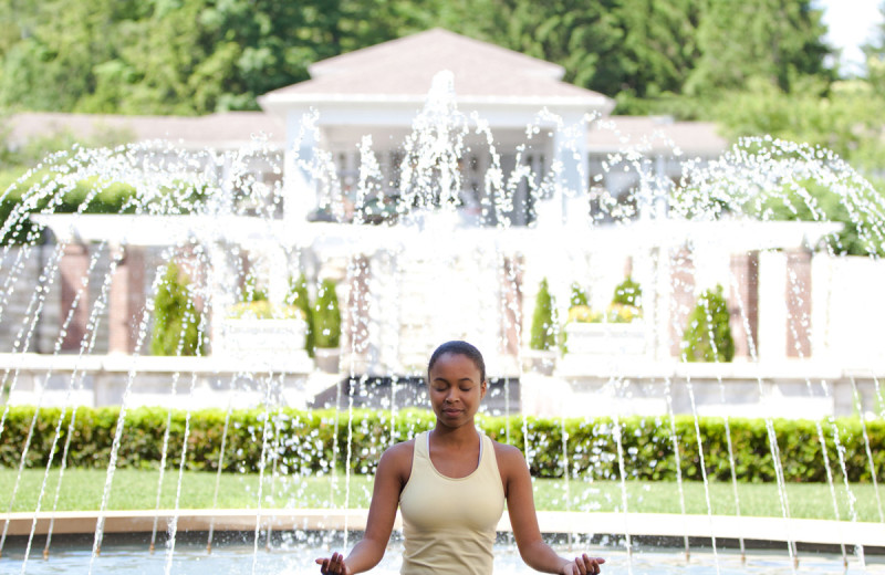Meditation by the fountain at Canyon Ranch in Lenox.
