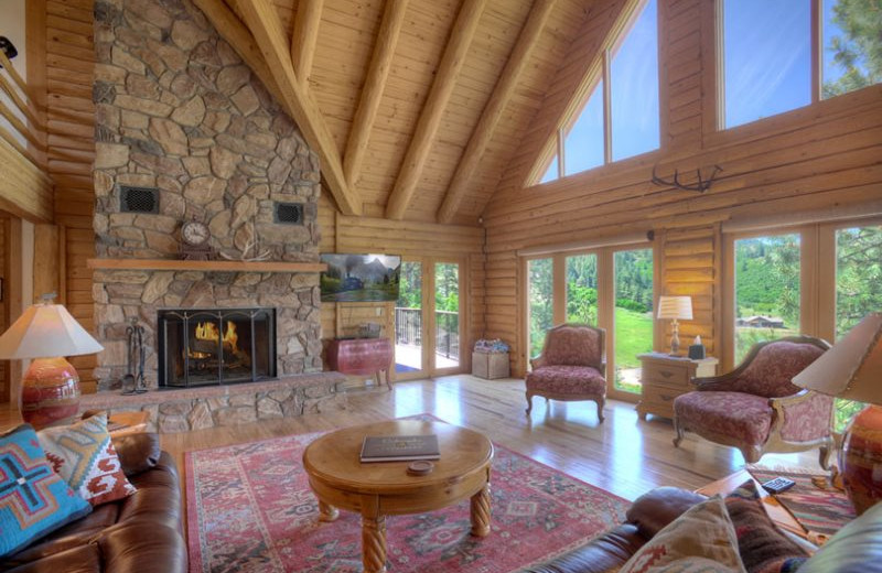 Rental living room at Hill Country Lake House.