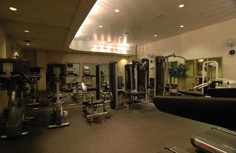 Fitness room at Delta Edmonton Centre Suite Hotel.